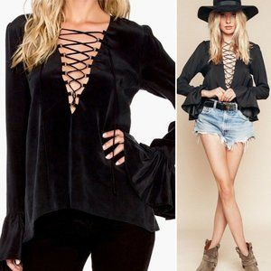 Stone Cold Fox Black Silk Lace-Up Powell Blouse